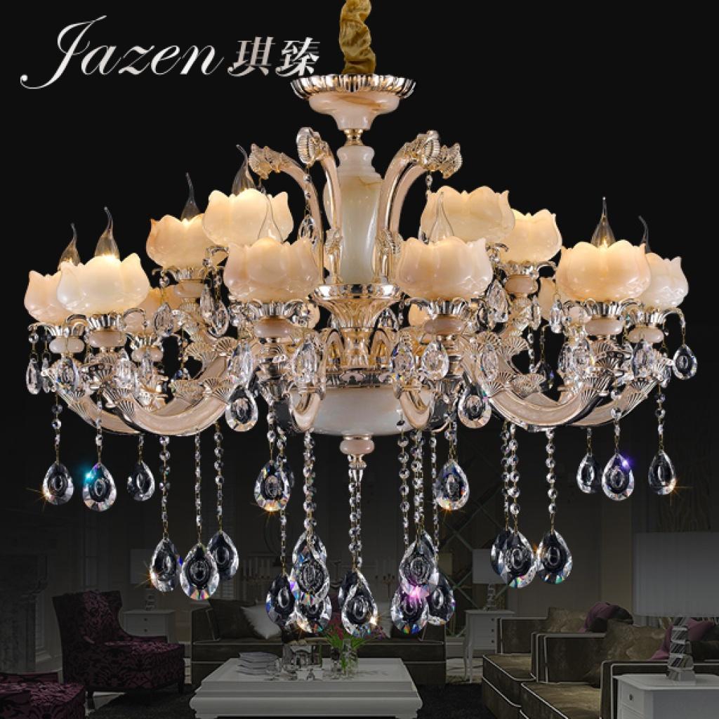 琪臻欧式水晶吊灯高档人工玉石客厅餐厅吊灯