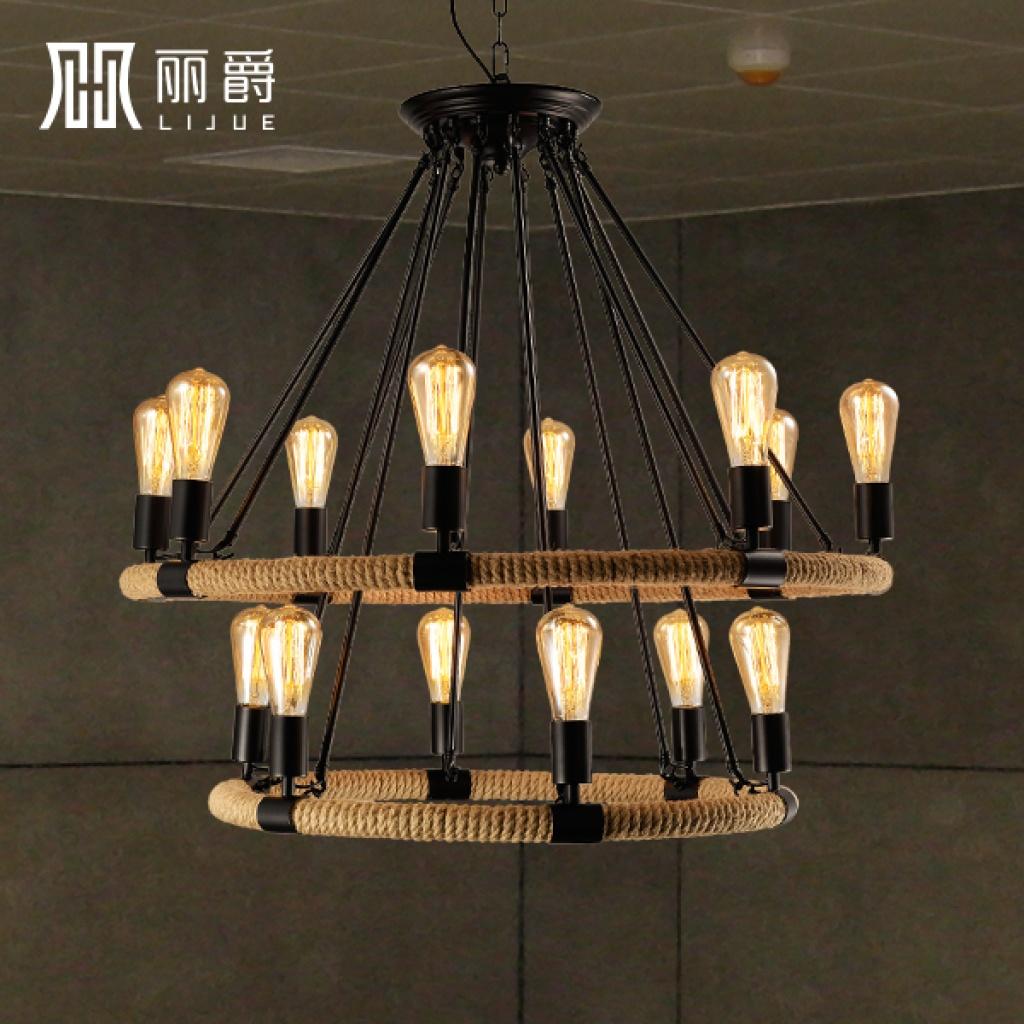丽爵美式乡村麻绳复古吊灯铁艺餐厅咖啡厅灯