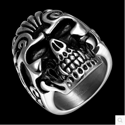 American man 316L titanium ring exaggerated personality skull jewelry men's ring