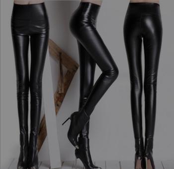 High waisted leather leggings Matt lady tight pencil pants high elastic