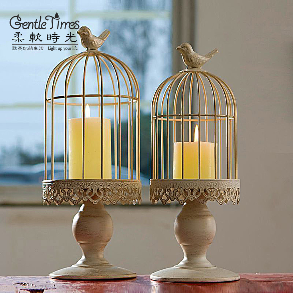 白色欧式鸟笼蜡烛台