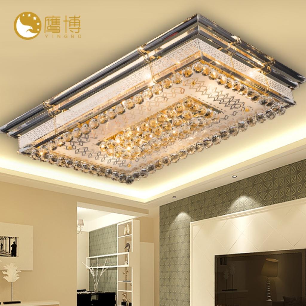 鹰搏平板水晶吸顶灯长方形简约客厅大堂灯