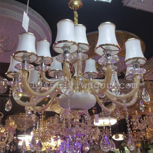 厂家直销欧式水晶吊灯香槟色金色边框灯罩15头k9水晶