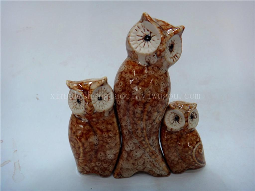 猫头鹰家庭组合 动物组合摆件 陶瓷摆件 家居摆件