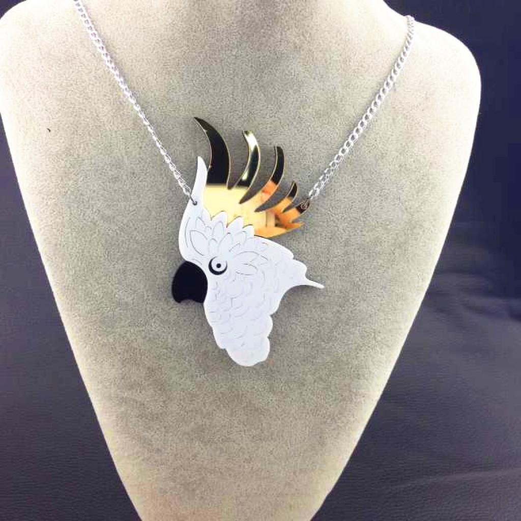 有趣的动物项链饰品亚克力鹦鹉头吊坠