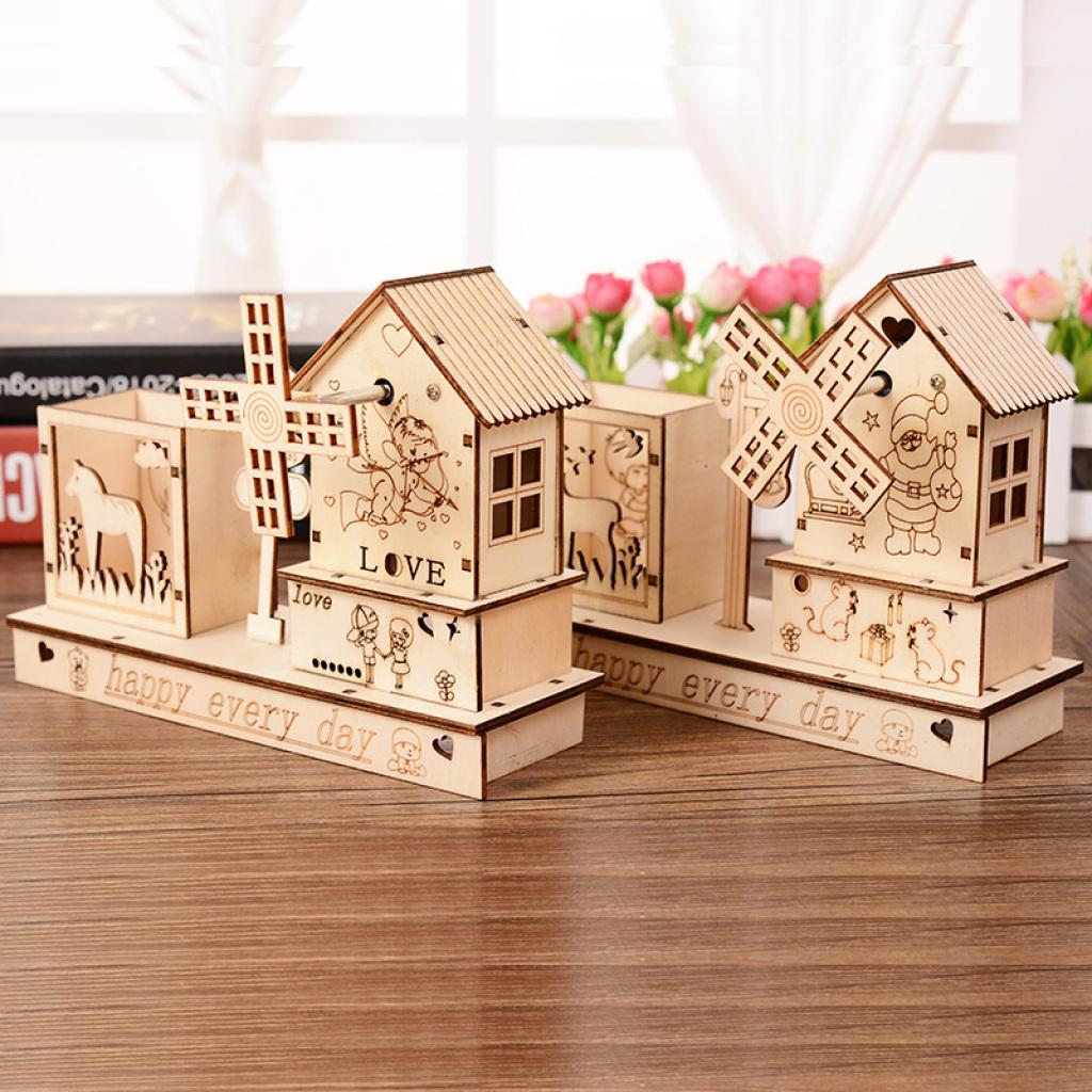 创意木质笔筒桌面摆件八音盒