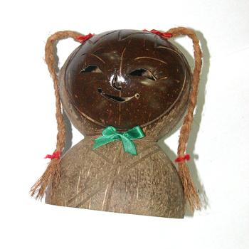 椰雕双面娃 椰雕动物挂包 天然椰子壳经手工雕