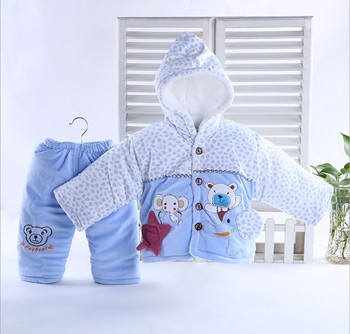 Children suit simple cartoon baby cashmere coat with soft and comfortable warm clothes with cap
