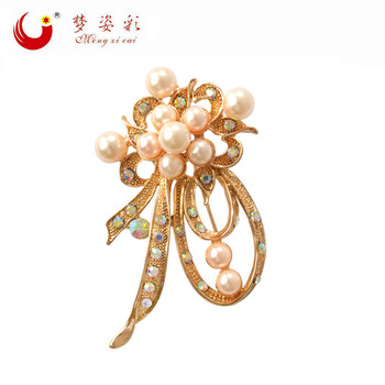 The new Korean fashion personality Pearl Brooch high-end women's diamond alloy