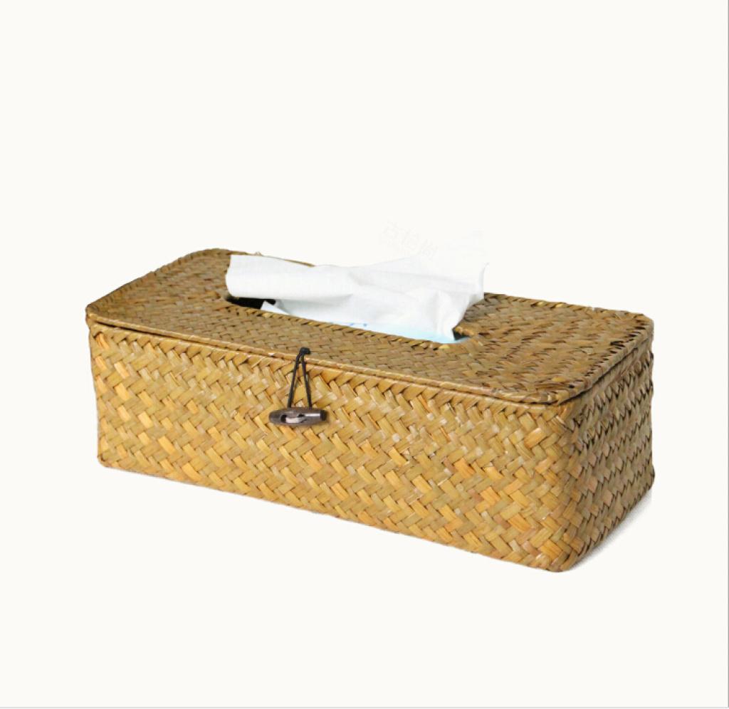 抽取式草编纸巾盒 非藤编l纸巾盒 长方形手工编织纸巾盒