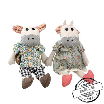 Handmade DIY package couple doll plush toys patchwork doll beef