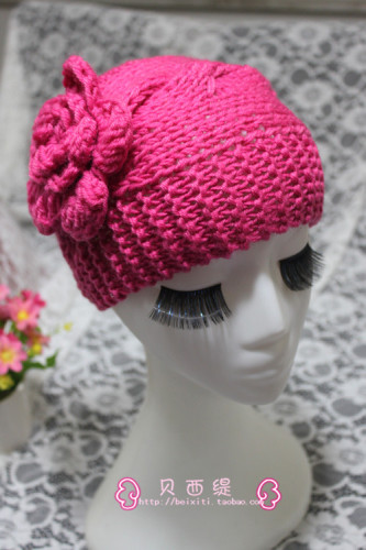 纯手工编织秋冬时尚花朵毛线无顶帽子宽发带麻花螺旋保暖头套