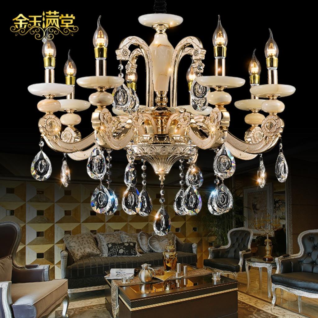 欧式锌合金水晶吊灯 卧室客厅别墅酒店玉石蜡烛灯
