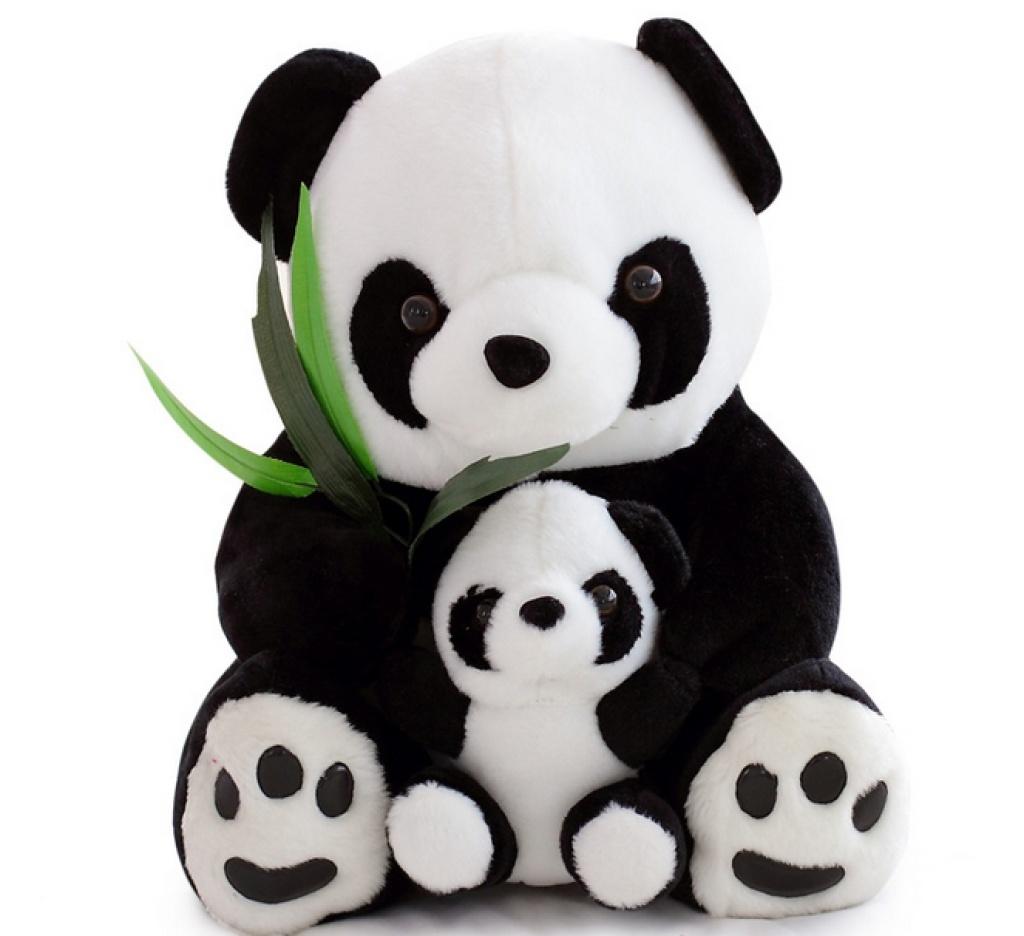 熊猫公仔毛绒玩具可爱母子熊猫吃竹子玩偶
