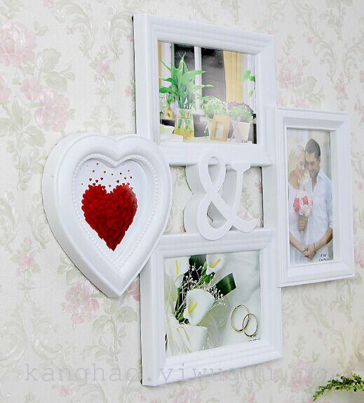 欧式心形连体相框圆形组合字母个性装饰卧室客厅wk-4