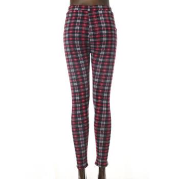 Women's pencil pants velvet thickened leggings  plaid pants warm pants