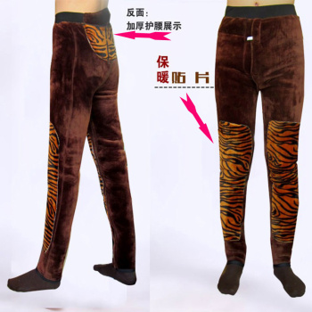 The three layer of thick warm pants men waist knee soft warm pants