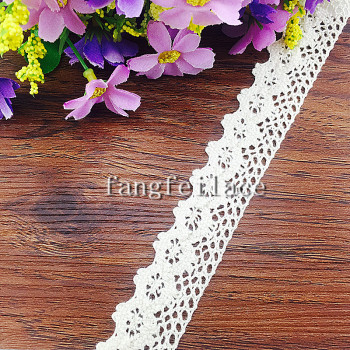 2.5 cm white beige cotton lace for apparel textile crafts accessories spot