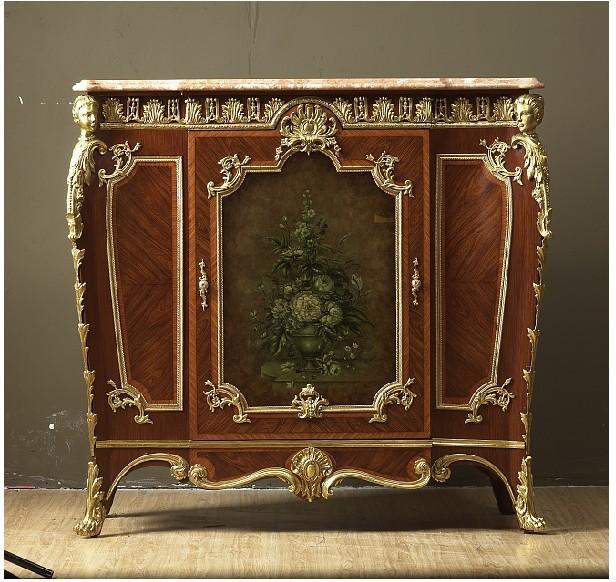 美式新古典复古彩绘实木储物柜玄关柜收纳装饰柜子手工描绘镶铜图片
