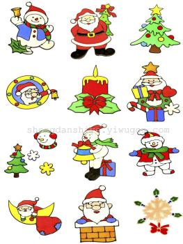 The celebration of Christmas Christmas ornaments without glue glass stickers stickers stickers premium Santa Snowman