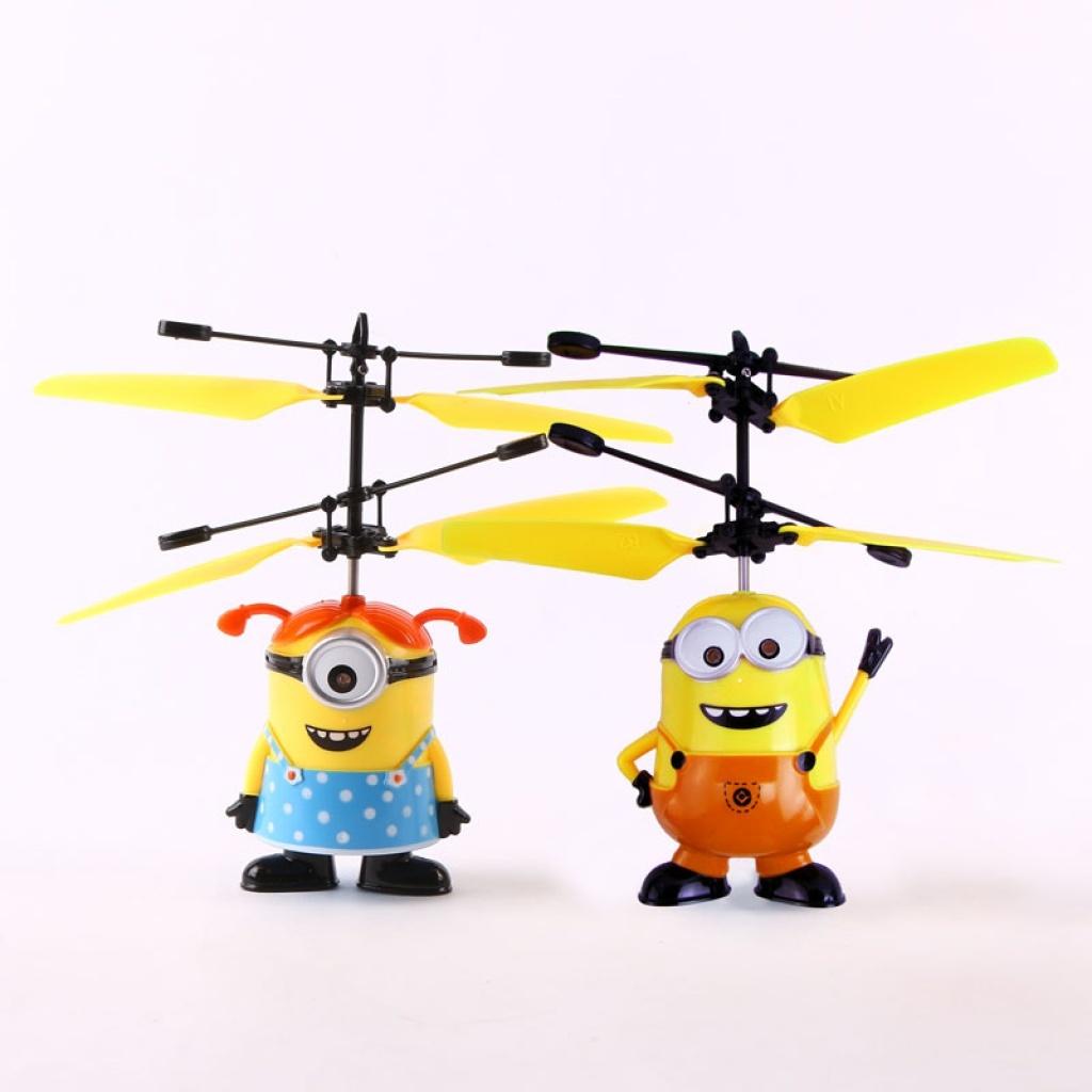 儿童益智感应飞行玩具升级版带灯小黄人可充电遥控