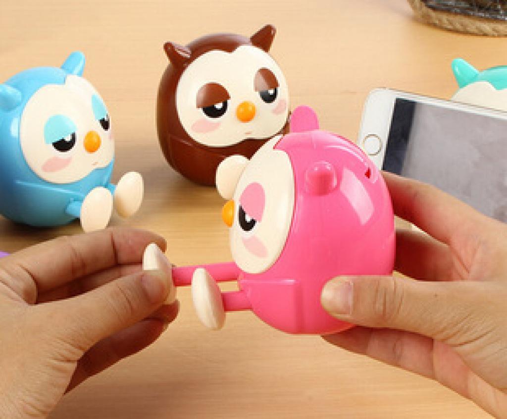 可爱猫头鹰手机支架 猫头鹰钱罐 卡通动物摆件