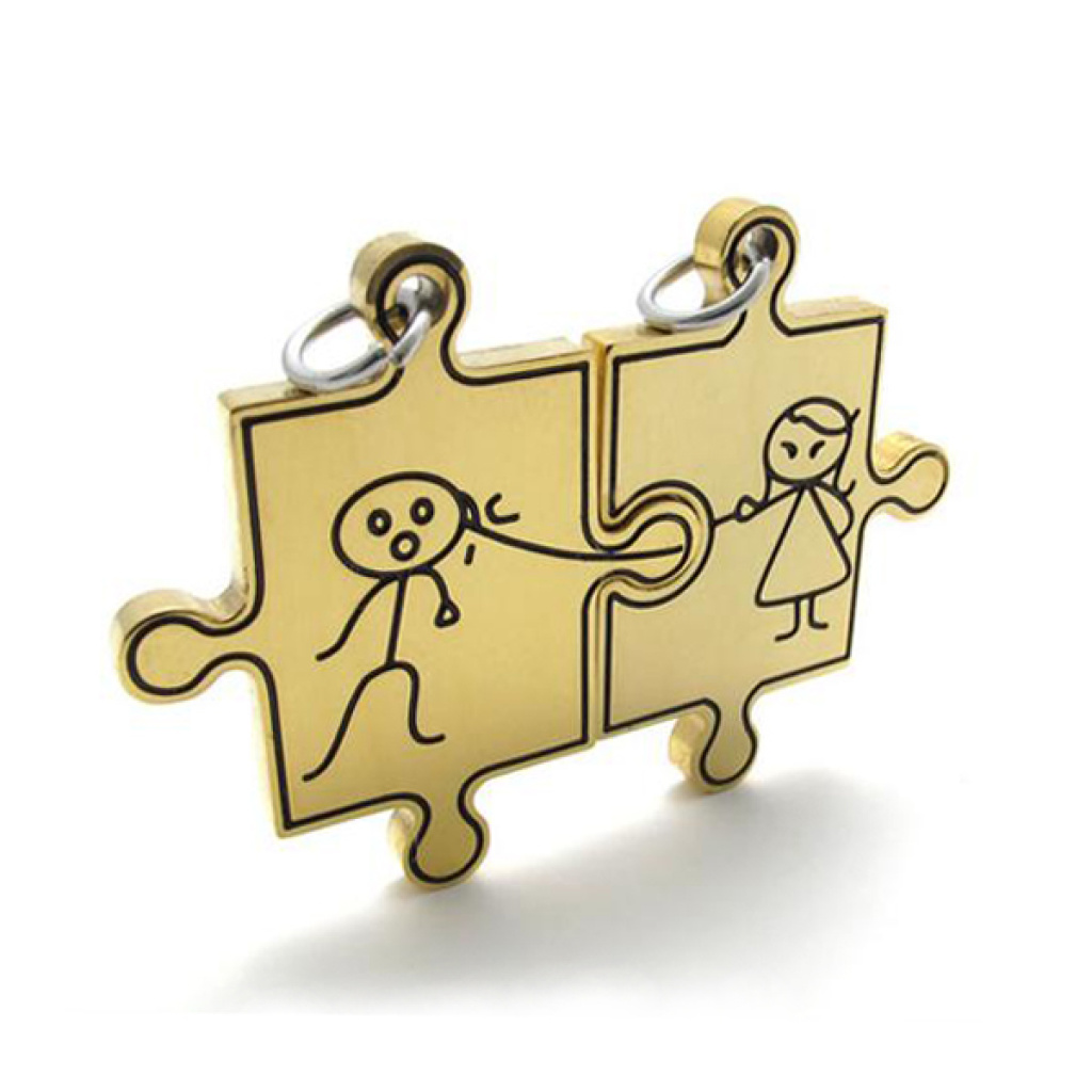 钛钢情侣拼图 卡通男孩女孩坠子项链 可配链子