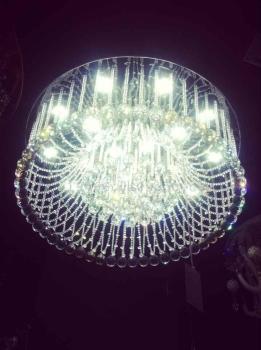 厂家直销欧式吸顶灯led贴片珠帘水晶灯圆形客厅灯