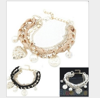 Pierced heart love zhenzhuyuan brand woven rope chain diamond bracelet wholesale multilayer woven Bracelet