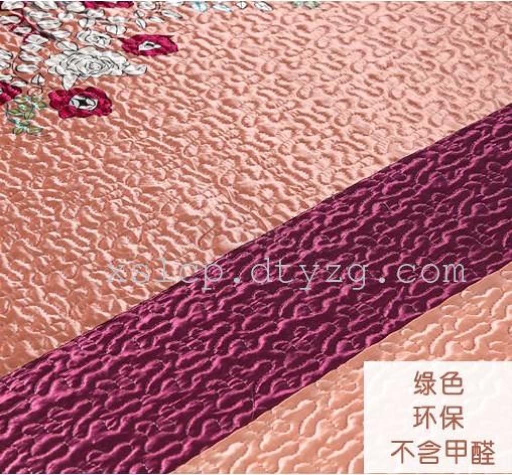 精品仿真丝绣花绗缝床盖双人床盖床罩