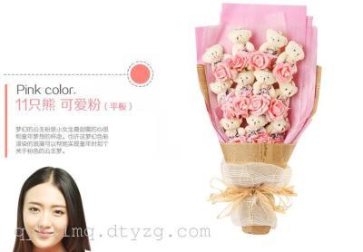 1只泰迪熊卡通花束PE玫瑰绢花创意花束情人节礼物批发热销款
