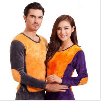 2015 new autumn and winter for male and female cotton super soft gold armor thermal underwear sets