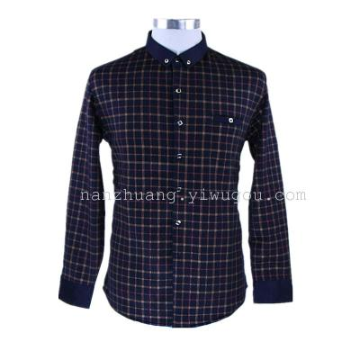 Autumn and winter warm thick Plaid Shirt Korean men's slim