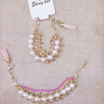 Multi element alloy chain Korean fringed South Korea Pearl Bracelet