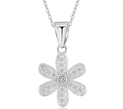 Korean snowflake pendant fashion necklace color anti allergy new micro inlay jewelry