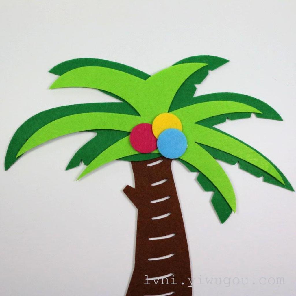 无纺布创意3d立体椰子树墙贴 幼儿园卧室墙贴