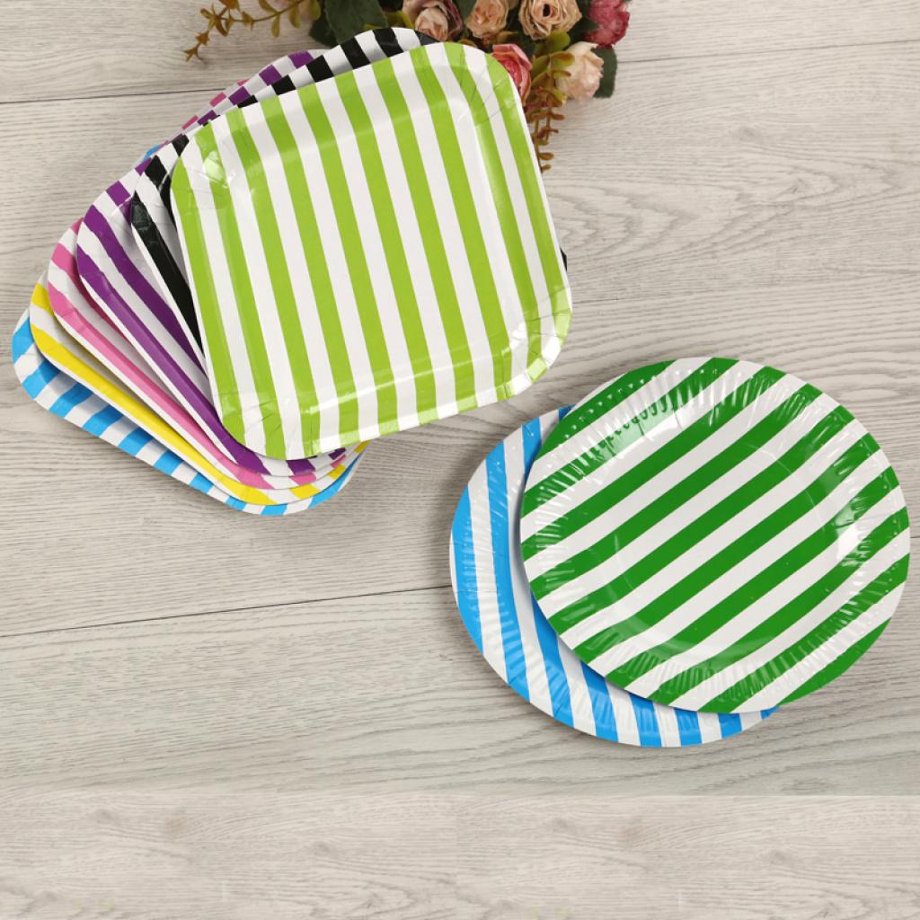 一次性彩色盘子创意儿童手工纸盘条纹蛋糕刀叉碟