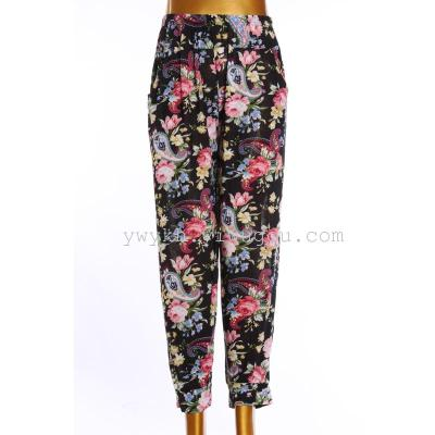 Ninth bloomers large size middle-aged pants printing leggings
