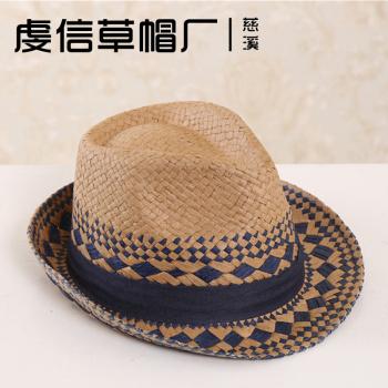 拉拉草棱形花纹礼帽爵士帽 英伦风防晒旅游帽子