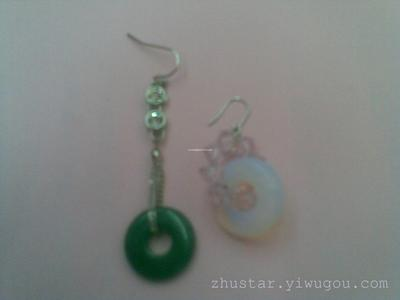 Natural stone earrings, amethyst, green gold, agate, opal, pines