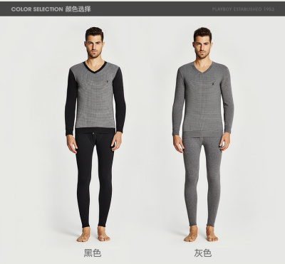 Men with cashmere thermal underwear with thickened cotton Lycra V warm suit collar