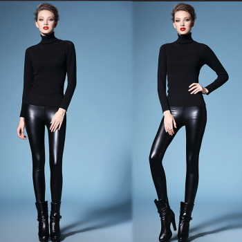 High waisted leather pants and leather imitation cashmere thick warm pants