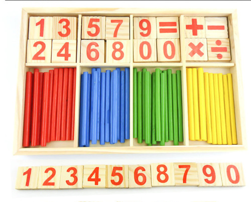 Round rod wooden bar combined digital counting children educational toys