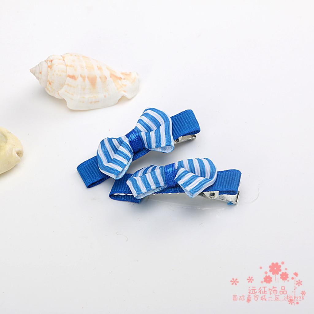 韩国布艺缎带条纹蝴蝶结发夹鸭嘴夹可爱多色发卡