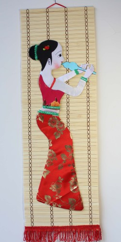 National young beauty bamboo crafts bamboo painting room pure handmade bamboo paintings painting bamboo tourism products
