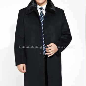 In the old business coat lapel with long cashmere thickened fur collar father put men