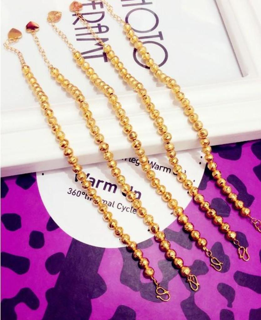 时尚流行手链 6磨砂珠镀真金手链 沙珠手链 24k黄金手链图片