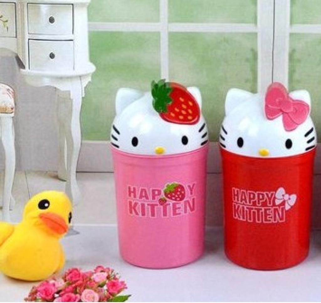 凯蒂猫卡通迷你动物时尚翻盖可爱立体垃圾桶/杂物桶