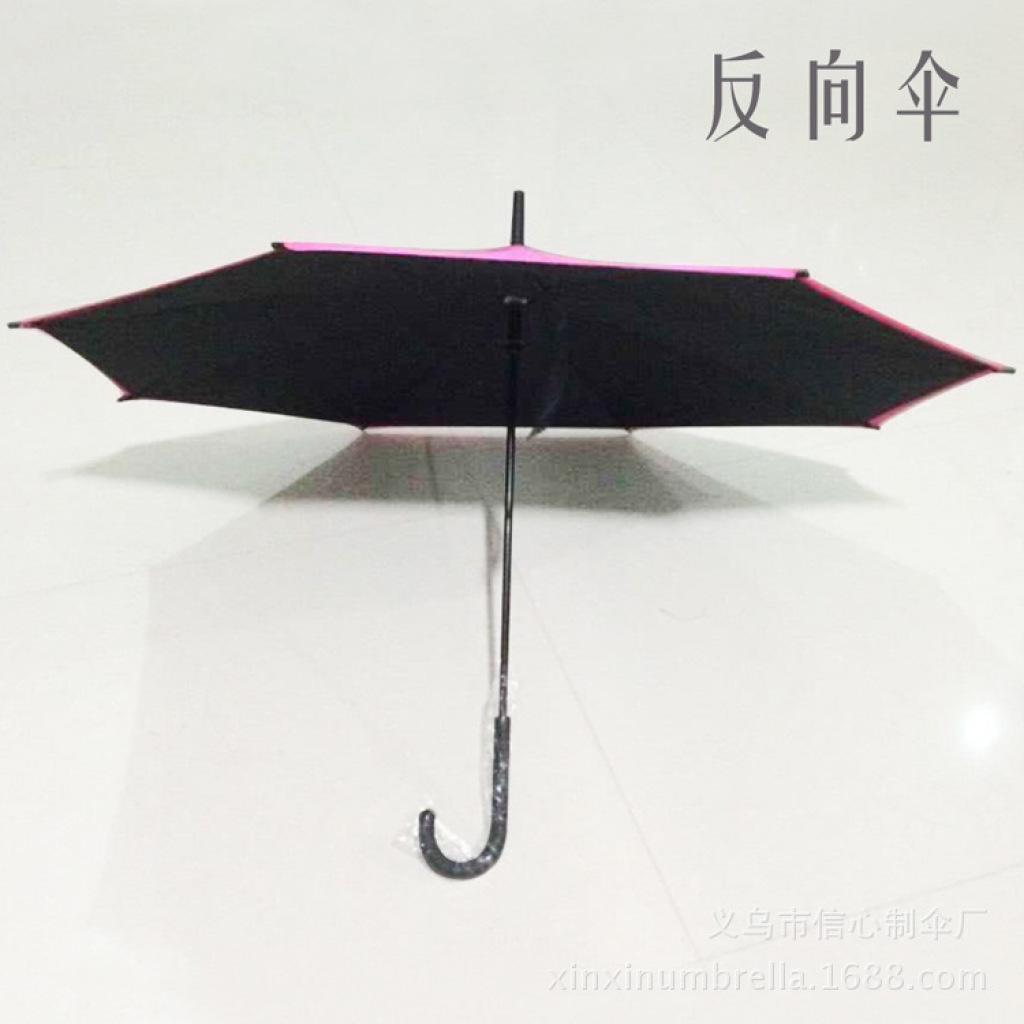 新款奇特双层反向直杆伞创意反转雨伞男女士商务伞 批发订做图片