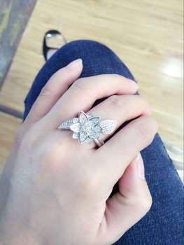 Korean fashion micro copper inlaid ring